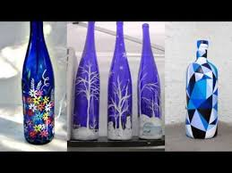 Recycled Bottle Glass Paint Art | Home Decor Ideas | Painted Blue Bottle  Diy Art Pic Collection - YouTube