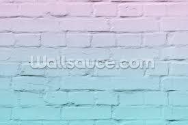 old brickwork blue and pink mural