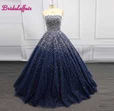 Gown Dress Design 2018 Navy Blue Luxury Beading Big Ball Gown Wedding Dress Photo Brilliant Pink Wedding Dresses 2018 Real Picture Gown Dress