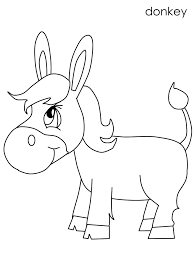 Small Picture Donkey Coloring Pages For Kids Preschool and Kindergarten
