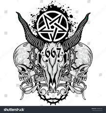 Gothic Skull Design Gothic Coat Arms Skull Grungevintage Design Stock Vector