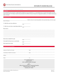 Return To Work Medical Form 24 Return To Work Work Release Forms Printable Templates 8