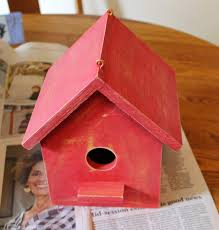 Birdhouse Stencils Designs Farm Style Birdhouse With Red Milk Paint Stencil
