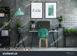industrial office decor. Dark Industrial Office Interior With Turquoise Decor And Modern Furniture E