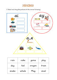 These free worksheets are printable and designed to accommodate any lesson plan for reading that includes phonics. Phonics Ai Ay A E Worksheet