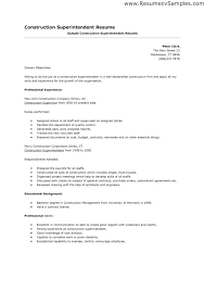Resumes For Construction Sample Construction Superintendent Resume Construction