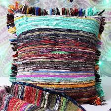 16 x 16 hand woven chindi rug pillow