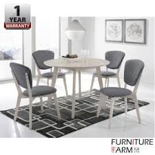 f f 100cm viera round solid wood dining table with 4 dining chair set set
