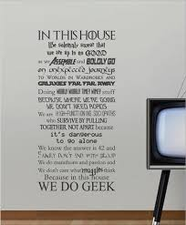 in this house we do geek wall art sticker on house rules wall art suppliers with we do geek house rules totesamazewalls