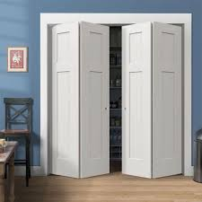 single closet doors. Accessories Inspirations | : White Finished Bifold Closet Door With Trim Also Blue Wall Color Single Doors S
