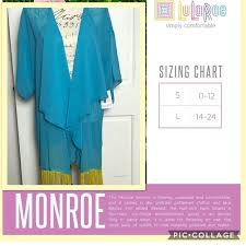 Monroe Size Chart Nwt Lularoe Monroe Kimono Sz Large 14 24 Boutique