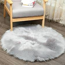 faux fur sheepskin super soft round area rugs living room bedroom home carpet sofa couch
