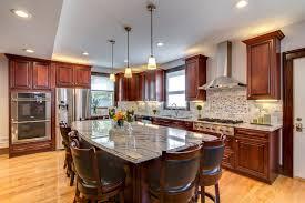 viscont white granite countertops with cherry cabinets contemporary kitchen boston