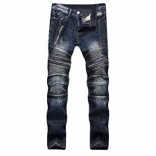 Designer Pants Us 29 86 45 Off New Biker Mens Zipper Jeans Men Slim Fit Straight Moto Punk Dark Long Designer Pants Nightclubs Mens Jeans Pleated Black Pants In