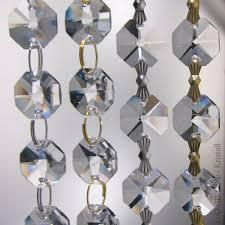 Details Zu 33cm Kristall Kette 16x Oktagon Stern 14mm Crystal Leuchter Lüster Vorhang