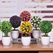 office bonsai. Creative Idea:Creative Colorful Bonsai Flowers On Brown Wood Office Table Brilliant Decoration Ideas
