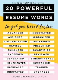 Power Word For Resumes Resume Power Words Free Resume Tips Resume Template