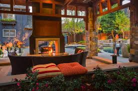 image of double side outdoor electric fireplace
