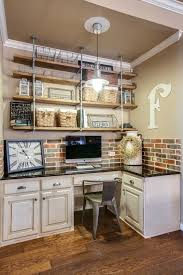 home office wall decor. Classic Wooden Desk With Brick Wall Decor And Decorative Shelves For Cute Home Office Decorating Ideas I
