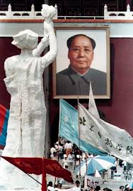 remembering the tiananmen square protests years later a portrait of s late chairman mao zedong overlooks the goddess of democracy