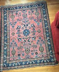 vintage antique pink blue turquoise persian oriental rug hand knotted wool 1905 3
