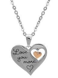 connections from hallmark stainless steel i love you more dangle heart pendant 18 com