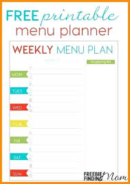 Free Weekly Food Planner Moontex Co