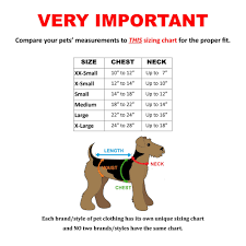 Pet Clothes Size Chart
