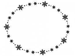 雪の結晶の白黒楕円フレーム飾り枠イラスト 無料イラスト かわいい