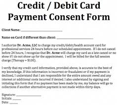 Credit Consent Form Credit Debit Card Payment Consent Form Creditcounseling Debt