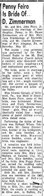 Penny Feiro Bride of Duane Zimmerman - Newspapers.com