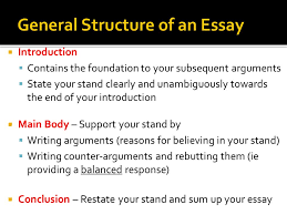 part the essay structure ppt general structure of an essay