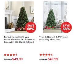 trim a home 6 5 pre lit christmas trees only 49 99 shipped reg