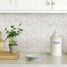 wallpops white hexagon marble l stick backsplash tiles