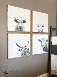 we love these diy cow prints each print is 24 wide only costs about 12 and they are super easy to build cowabunga  on two cows canvas wall art with diy cow wall art shanty 2 chic