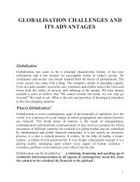 globalisation its challenges and advantages