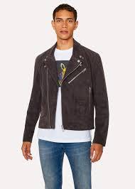 men s slate grey suede leather asymmetric zip biker jacket paul smith