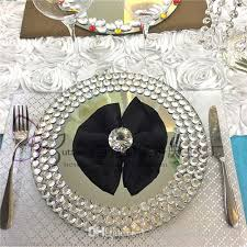 mirror round charger plate with crystal beaded 13 inch glass cake plates set of 30wedding centerpieces wedding decoration company wedding decoration flowers
