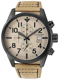men s citizen black plated chronograph leather strap watch an3625 07x loading zoom