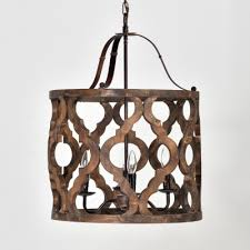 wood drum shape pendant light 4 lights