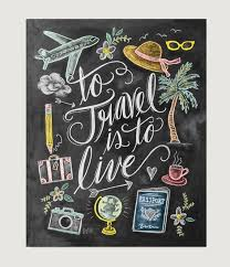 To Travel Is To Live Print Wanderlust Print Chalkboard Art Custom Quotes Of Illu