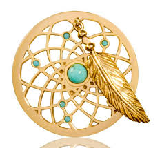 Dream Catcher Gold Bracelet Turquoise Dreamcatcher Dangle 100mm Gold Coin 53