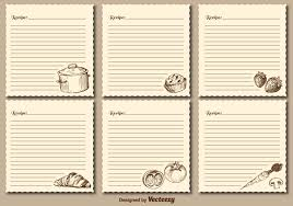 Recipe Cards Templates Vintage Recipe Cards Vector Templates Download Free Vector Art