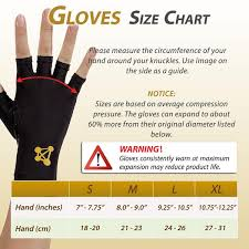 Copper Fit Gloves Size Chart Copper Fingerless Compression Gloves