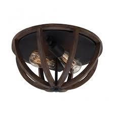 rustic flush fit ceiling light with dome oak wood frame