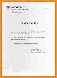 Sample Of Employment Certification Letter 7 8 Employment Certification Samples Crystalray Resume Samples