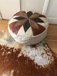 real vintage leather pouffe chelsea