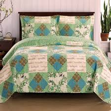 Romantic Chic Patchwork Blue Green Quilt Coverlet and Shams Set ... & Romantic Chic Patchwork Blue Green Quilt Coverlet and Shams Set Oversized  Upgrade your bedroom with this Adamdwight.com