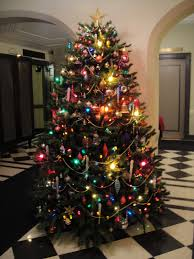 Fantastic Colourful Xmas Tree Decorations Presenting Yelllow Star On Top  Also Wire Light Ornaments For Attractive