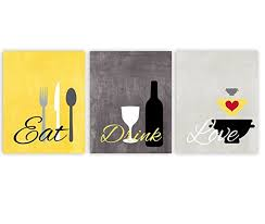 eat drink love kitchen wall art in yellow gray and white set of 3 8x10 prints on food and drink wall art with amazon eat drink love kitchen wall art in yellow gray and white